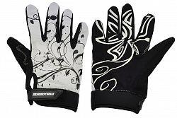 Cyklo rukavice MAXBIKE dámske celoprsté bielo-čierne